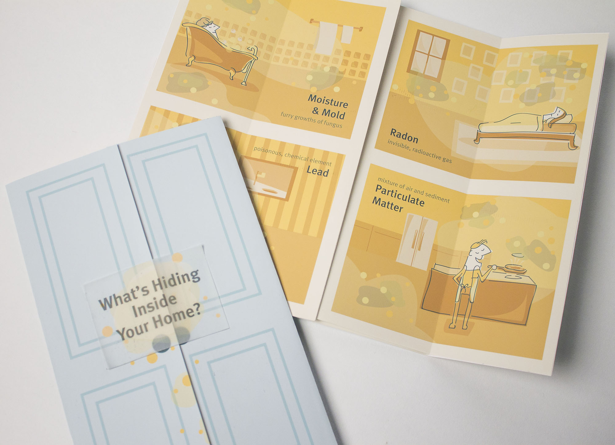 """""""What's Hiding In Your Home"""" Sticker Paired With Polluted Rooms of Home"""