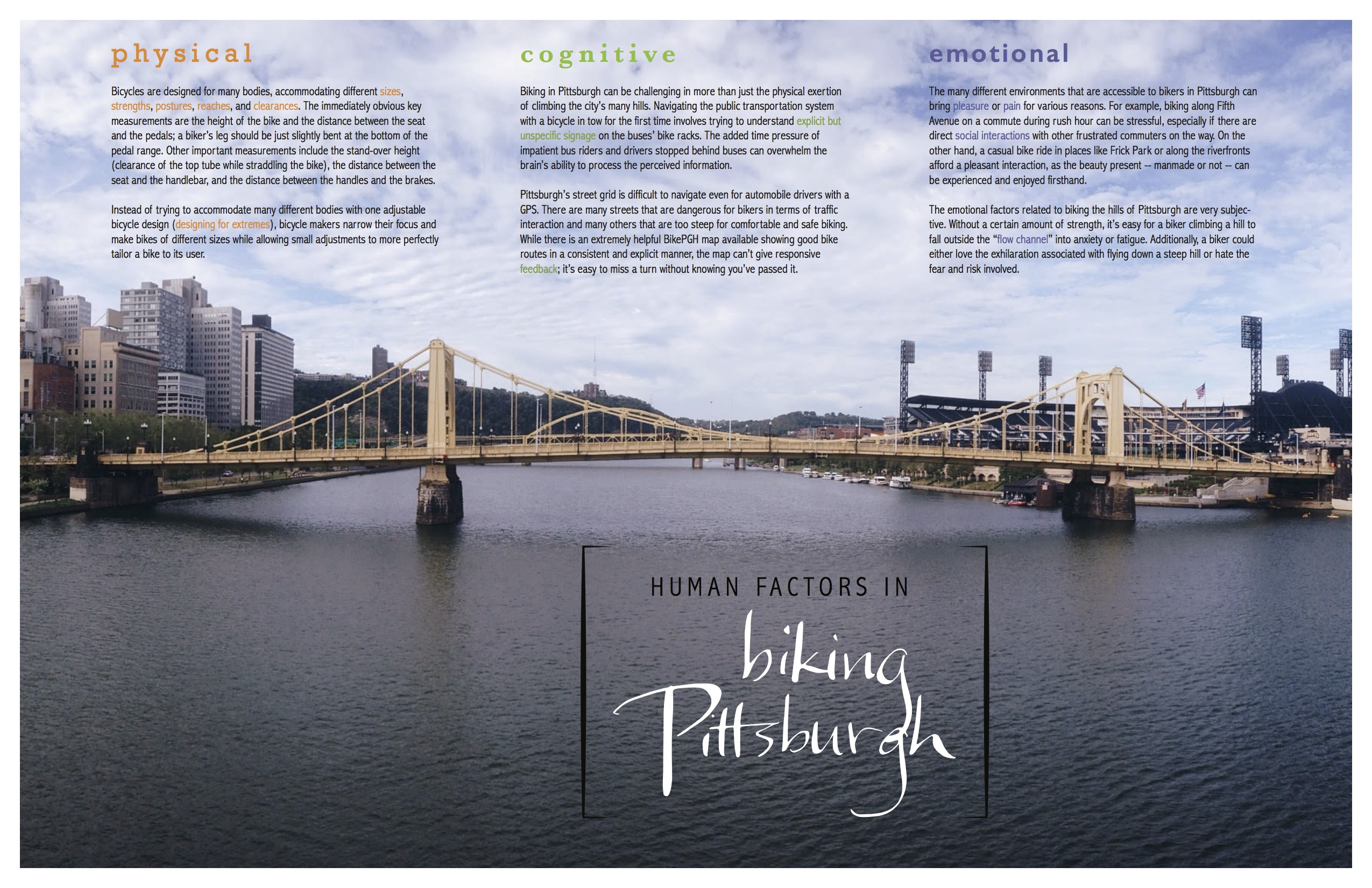 poster explaining some physical, cognitive, and emotional human factors surrounding biking in Pittsburgh