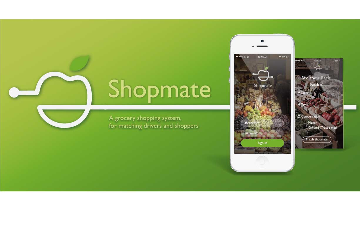 Shopmate is an mobile application concept aiming to improve the efficiency in the off-campus grocery shopping systems and allow bulk shopping for college students without a car. In addition, by creating a platform for-and-from college students, social interaction among all members of the university can be increased.