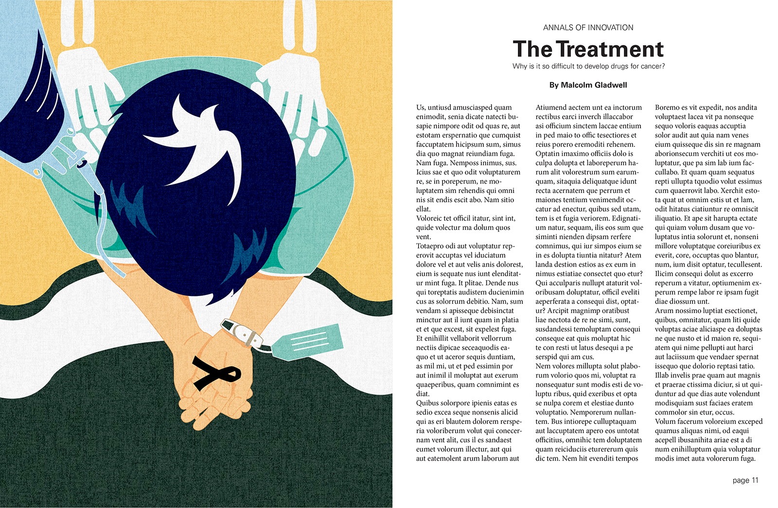 editorial illustration and layout for an assigned article on cancer treatment