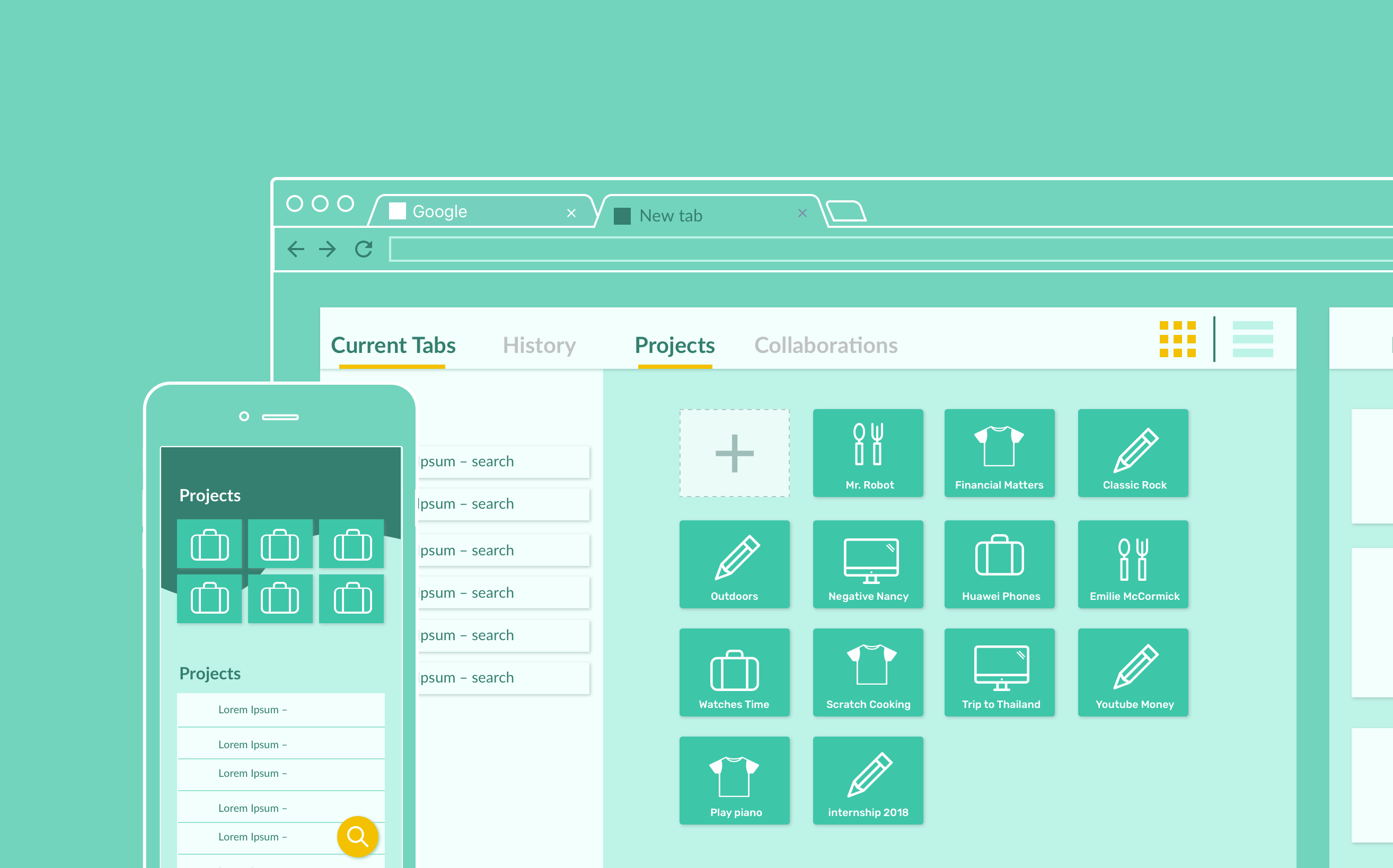 Wireframes of Bento Browser as chrome extension and app
